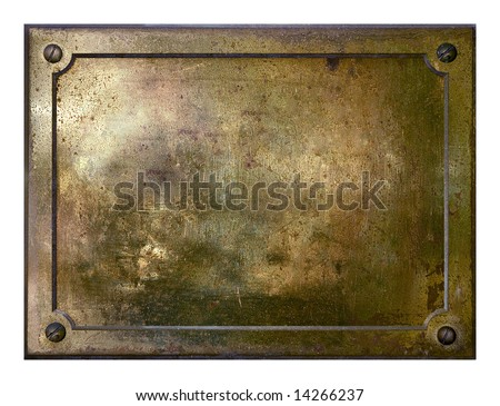 Brass yellow metal plate framed background texture - stock photo