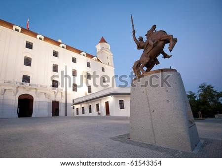 Bratislava castle after renovation with statue of King Svatopluk - stock photo