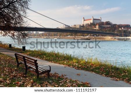 Bratislava castle and river Danube - stock photo