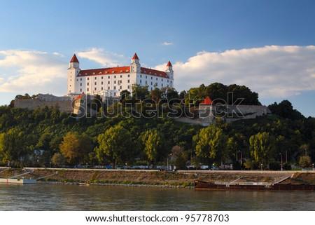 Bratislava castle and river Danube - Slovakia - stock photo