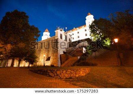 Bratislava castle from the bellow in the evening dusk light, Slovakia, Eastern Europe - stock photo