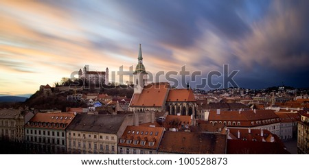 Bratislava castle + old town panorama. - stock photo