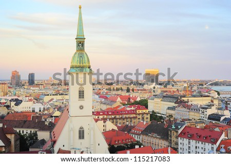 Bratislava Cityscape & St. Martin's Cathedral, Slovakia - stock photo