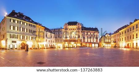 Bratislava Main Square at night - Slovakia - stock photo
