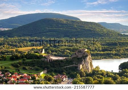 Bratislava - Ruin of castle Devin, Slovakia - stock photo