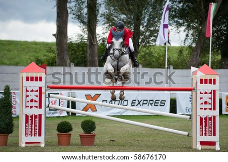 BRATISLAVA, SLOVAKIA - AUGUST 7: BROTTO Fabio on horse NEW ZEALAND DELLE ROANE in action during third round of qualification to Grand Prix CSIO-W*** August 7, 2010 in Bratislava, Slovakia - stock photo