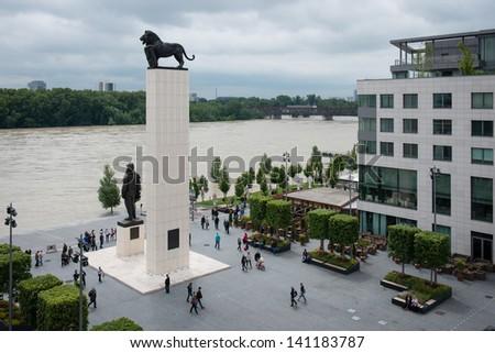 BRATISLAVA, SLOVAKIA - JUNE 5:  Rising water level of Danube river close to Eurovea Shopping center on June 5, 2013 in Bratislava - stock photo
