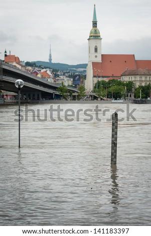 BRATISLAVA, SLOVAKIA - JUNE 5:  The level of the Danube River continues to surge on June 5, 2013 in Bratislava - stock photo