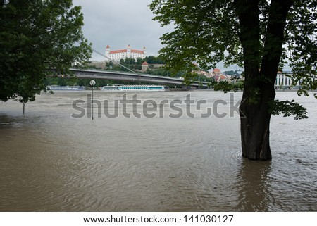 BRATISLAVA, SLOVAKIA - JUNE 4: The level of the Danube River in Bratislava exceeded 900 centimetres on June 4, which triggered a third-degree flood warning in Bratislava - stock photo