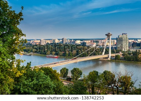 BRATISLAVA, SLOVAKIA - MAY 8: Bridge of Slovak National Uprising on May 8, 2013 in Bratislava, Slovakia. It is the world's longest cable-stayed bridge to have one pylon and one cable-stayed plane. - stock photo