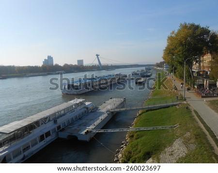 BRATISLAVA, SLOVAKIA - NOVEMBER 1: Viking Sky and Zilina ships in Danube River on November 1, 2013 in Bratislava.  - stock photo