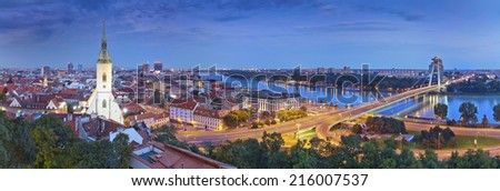 Bratislava, Slovakia. Panoramic image of Bratislava, the capital city of Slovak Republic.  - stock photo