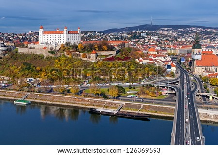 Bratislava, Slovakia, panoramic view with the castle and old town - stock photo