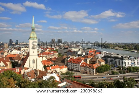 Bratislava view with St. Martin's Cathedral and Danube river - stock photo