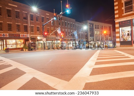 BRATTLEBORO, USA - OCTOBER 10; Historic Downtown District and architecture of Brattleboro on October 10, 2014 in Brattleboro, USA. The architecture includes Greek revival and Victorian styles. - stock photo