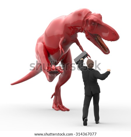 brave businessman, fighting against the dinosaur - stock photo