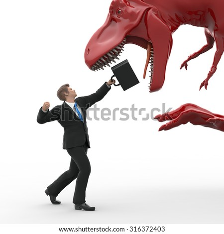 brave businessman fighting against the dinosaur - stock photo