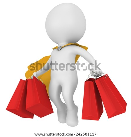 Brave hero with yellow cloak and red paper shopping bags flying above. Isolated on white 3d man. Merchandise, shopping, mystery shopper concept. - stock photo