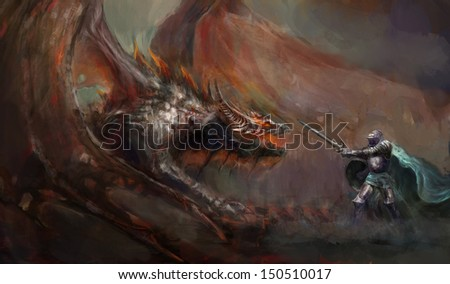 brave knight fighting with the dragon - stock photo