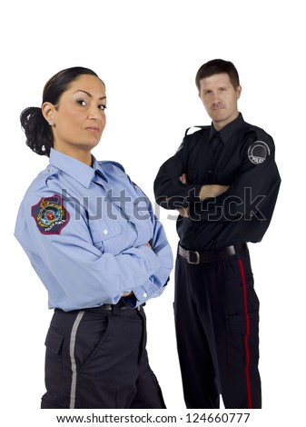 Brave police officers standing over a white background - stock photo