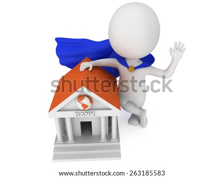Brave super banker with blue cloak waving his hand in greeting near world global bank. 3D render icon isolated on white. Money and real estate concept. - stock photo