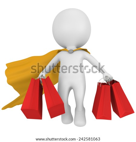 Brave super hero with yellow cloak and red paper shopping bags flying above. Isolated on white 3d man. Merchandise, shopping, mystery shopper concept. - stock photo