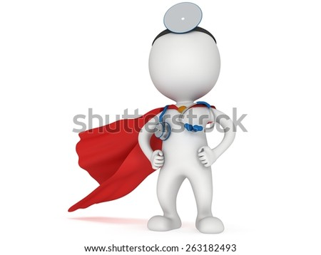 Brave superhero doctor with red cloak, stethoscope and mirror on his head. 3d render man isolated on white. Medicine and healthcare concept. - stock photo