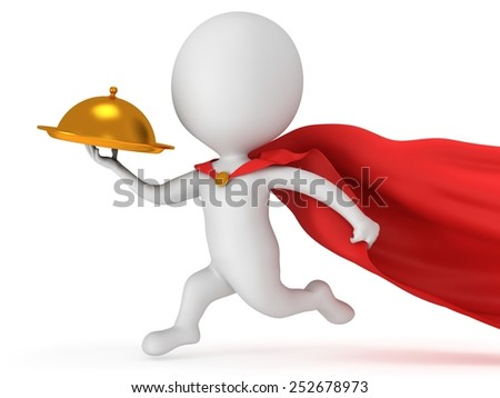 Brave superhero waiter with gold tray and red cloak runs to quickly deliver meal under cloche or dome. Isolated on white 3d render. Delivery concept. - stock photo