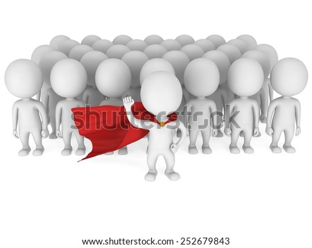 Brave superhero with raised fist stand before a crowd. Isolated on white 3d render. Leader, out of crowd concept. - stock photo