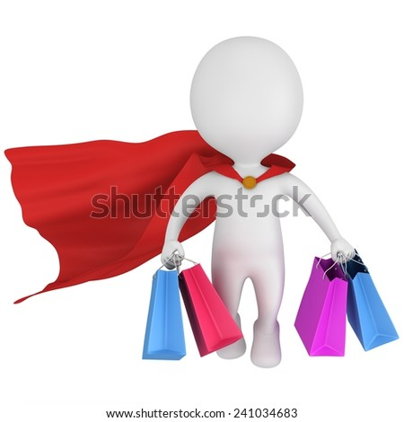 Brave superhero with red cloak and colored paper shopping bags flying above. Isolated on white 3d man. Merchandise, shopping, mystery shopper concept. - stock photo