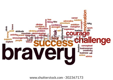 Bravery word cloud - stock photo