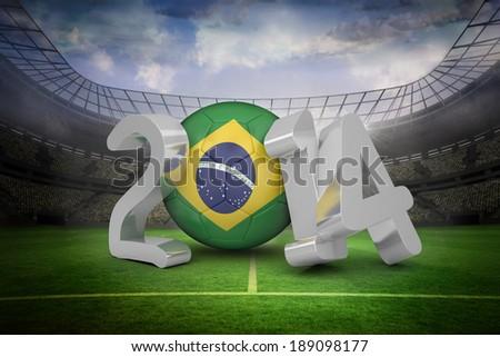 Brazil against large football stadium with lights - stock photo