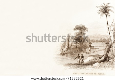 BRAZIL, AMAZON BASIN - CIRCA 1828 - A bridge of ropes used to cross a river.  This image is of an antique miniature drawing taken from the Illustrated Atlas of the World published circa 1828. - stock photo
