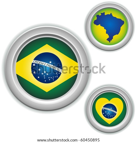 Brazil Buttons with heart, map and flag - stock photo
