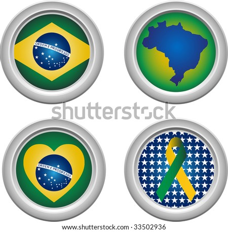 Brazil Buttons with ribbon, heart, map and flag - stock photo