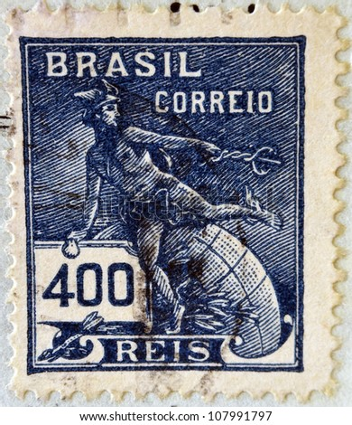 BRAZIL - CIRCA 1920: A stamp printed in Brazil, shows Hermes - a symbol of trade (Roman god Mercury), circa 1920 - stock photo