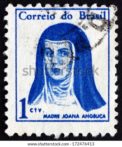 BRAZIL - CIRCA 1967: a stamp printed in the Brazil shows Mother Joana Angelica, circa 1967 - stock photo