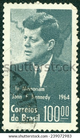 BRAZIL - CIRCA 1964: A stamp printed in the Brazil shows US President John F. Kennedy, series, circa 1964 - stock photo