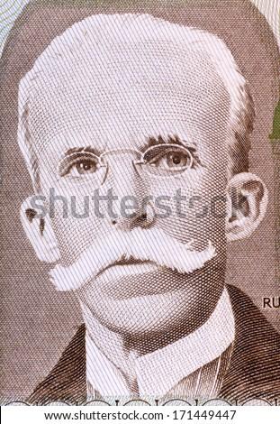 BRAZIL - CIRCA 1987: Rui Barbosa (1849-1923) on 10 Cruzados 1987 Banknote from Brazil. Brazilian writer, jurist, and politician. - stock photo