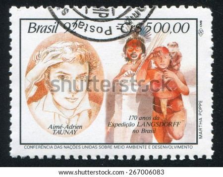 BRAZIL - CIRCA 1992: stamp printed by Brazil, shows  Aime Adrien Taunay, natives, circa 1992 - stock photo