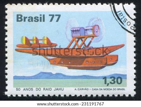 BRAZIL - CIRCA 1977: stamp printed by Brazil, shows  aircraft, circa 1977 - stock photo