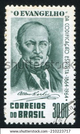 BRAZIL - CIRCA 1964: stamp printed by Brazil, shows  Allan Kardec, circa 1964 - stock photo