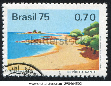 BRAZIL - CIRCA 1975: stamp printed by Brazil, shows  beach, circa 1975 - stock photo