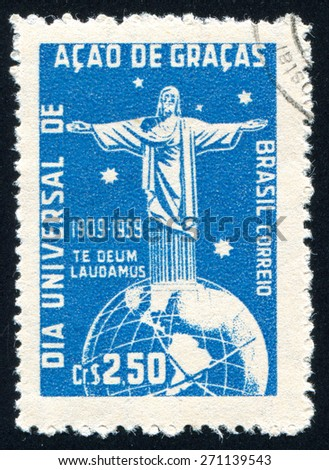 BRAZIL - CIRCA 1959: stamp printed by Brazil, shows  Corcovado Christ Globe and Southern Cross, circa 1959 - stock photo