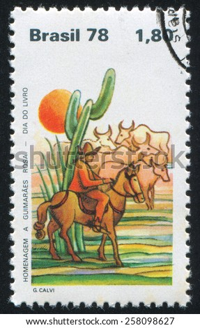BRAZIL - CIRCA 1978: stamp printed by Brazil, shows  Gaucho Herding Cattle and Cactus, circa 1978 - stock photo