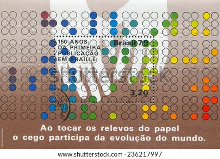 BRAZIL - CIRCA 1979: stamp printed by Brazil, shows  Hands Reading Braille, circa 1979 - stock photo