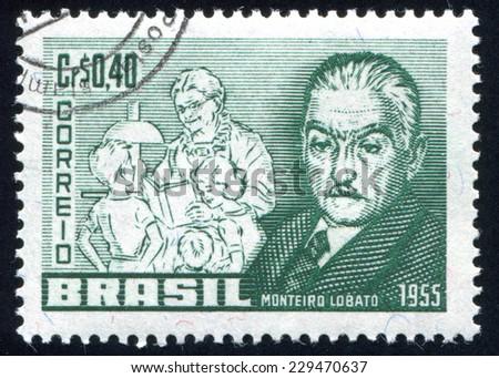 BRAZIL - CIRCA 1955: stamp printed by Brazil, shows  Jose Monteiro Lobato, circa 1955 - stock photo
