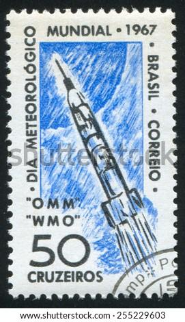 BRAZIL - CIRCA 1967: stamp printed by Brazil, shows  rocket, circa 1967 - stock photo