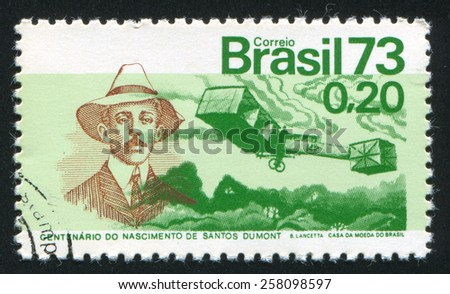 BRAZIL - CIRCA 1973: stamp printed by Brazil, shows  Santos-Dumont and 14-Bis Plane, circa 1973 - stock photo