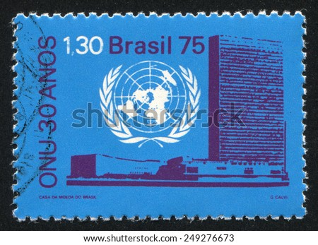BRAZIL - CIRCA 1975: stamp printed by Brazil, shows  UN Emblem and Headquarters, circa 1975 - stock photo